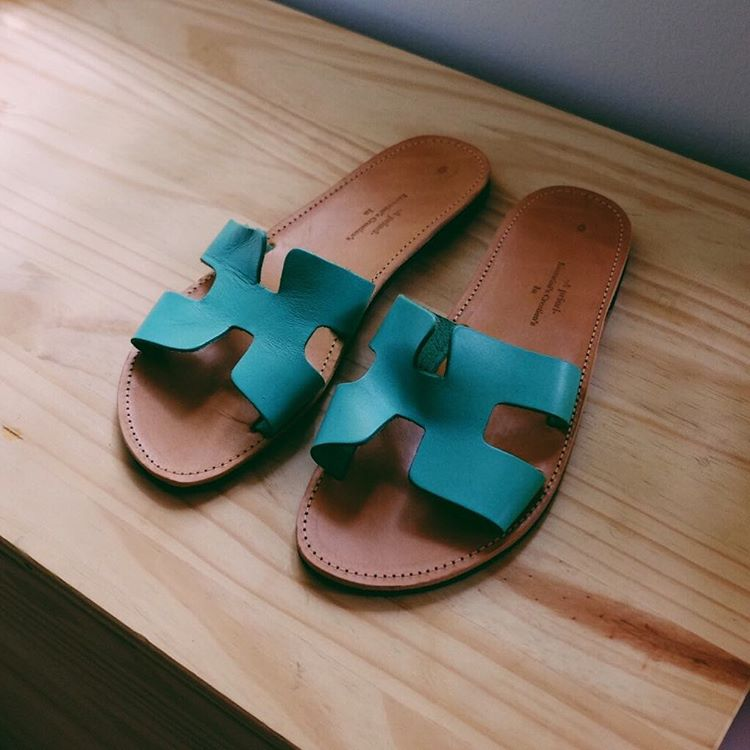 These leather slides were the first thing I spotted yesterdayhellip